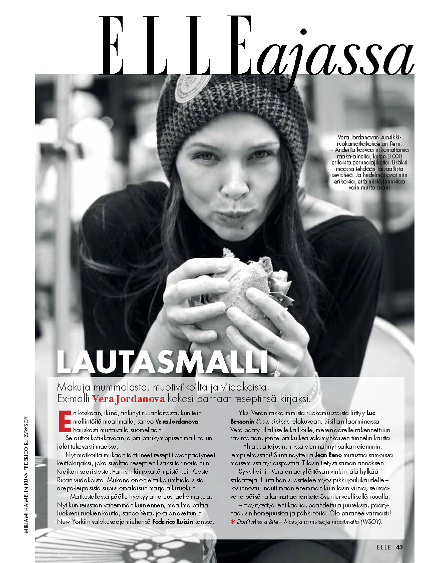 Vera Jordanova Article in Elle Magazine about her cookbook Don't Miss a Bite